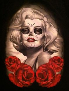 Day of the Dead / Dia de los Muertos Marilyn Marilyn Monroe Artwork, Marilyn Monroe Life, Sugar Skull Girl, Sugar Skulls, Bad Pic, Witch Tattoo, Day Of The Dead Art, Dope Art, Grim Reaper