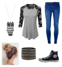 """""""Back to School"""" by pam-casner ❤ liked on Polyvore featuring Dorothy Perkins, LE3NO, Converse and Mudd"""