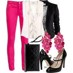 Hot Pink and Black Outfit. (Make my pants a bit flared. Get on that, will you? lol)
