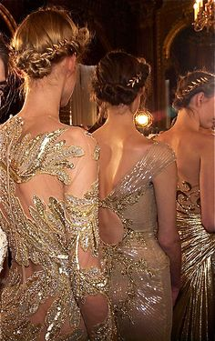 Zuhair Murad nude color embellished dresses fashion show. Runway fashion.