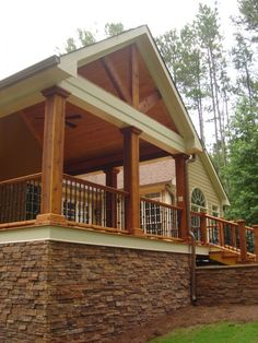 Love the front porch and the stone. Traditional Porch Covered Patio Design, Pictures, Remodel, Decor and Ideas - page 5 Covered Patio Design, Covered Decks, Covered Porches, Covered Deck Designs, Covered Walkway, Covered Pergola, Style At Home, Cedar Posts, Traditional Porch