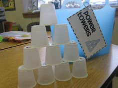 Practice math facts, sight words, etc. by writing them on the bottom of small cups. If students get the answer correct, they can add it to their tower. Second Grade Style: math games Teaching Math, Kindergarten Math, Teaching Ideas, Guided Maths, Preschool Learning, Guided Reading, Math Stations, Math Centers, Preschool Centers