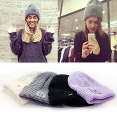 Knitted beanie hiver homme womans wooly ski turn up chapeau mode designer bieber