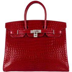 Diamond Birkin 35cm Hermes Braise Crocodile 18k White Gold Bag ❤ liked on Polyvore featuring bags, handbags, red crocodile handbag, hermès, croc embossed handbag, crocodile purse and diamond purse