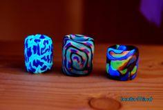 Lot of three clay uv blacklight goa psy dread beads. by InnerMind