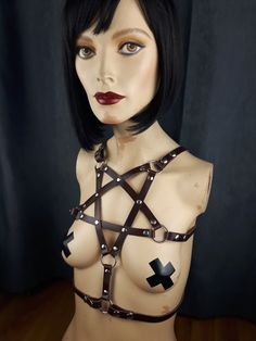 Harness Leather The Pentagram harness in by StarCreationsCa Leather Harness, Handmade Items, Handmade Gifts, Leather Accessories, Vegan Leather, Halloween Face Makeup, Wonder Woman, Trending Outfits, Unique Jewelry