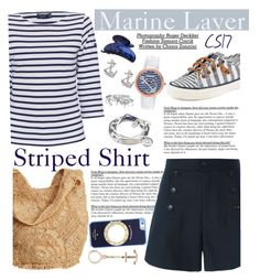 """""""Marine Layer: Striped Shirts."""" by shiningstars17 ❤ liked on Polyvore featuring Saint James, Sperry, Flora Bella, Étoile Isabel Marant, Lizzy James, FOSSIL, Bling Jewelry, France Luxe, Kate Spade and stripedshirt"""