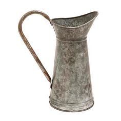 This traditional jug features galvanized metal and a sculpted handle on the body of the jug. The base of this decorative galvanized metal watering pitcher features an embossed fleur de lis design that gives this an old world appeal. This decorative galvanized metal jug is the perfect piece that you could add to your kitchen counter top to give it a rustic yet traditional look and feel. You can also add a large bouquet of fresh flowers to this piece and add it to your living room or dining…