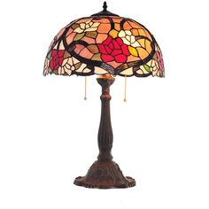 2 Lights Tiffany Style Table Lamp ($178) ❤ liked on Polyvore featuring home, lighting, table lamps, pull chain light, pull chain lamp, multi colored lights, colorful table lamps and multi color lamp