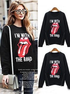 Buy Black Long Sleeves Print of Mouth Women Hoodies Women's Clothing under US$ 39.99 only in SimpleDress.