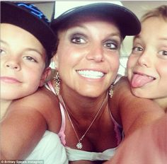 'Hi!': Britney Spears shared a family selfie on Wednesday posing with her two sons, Sean, ...