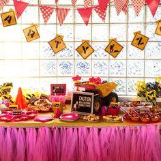 Construction themed dessert table from a Girly Construction Themed Birthday Party on Kara's Party Ideas   KarasPartyIdeas.com (16)