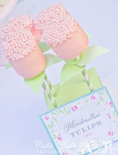 april showers bring baby flowers baby shower birthday printable flower set marshmallow tulips topped with shimmering pink nonpariels Marshmallow Flowers, Marshmallow Pops, Shower Party, Baby Shower Parties, Baby Showers, Chocolate Dipped Marshmallows, Dipping Chocolate, Candy Buffet Signs, Cake Pops