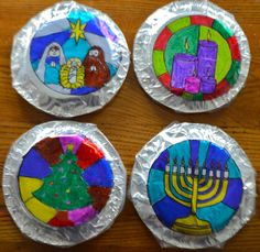 This stunning, multicultural stained glass window craft is perfect to highlight holidays around the world! Easy, cheap, and looks amazing when displayed. Christmas Art Projects, Projects For Kids, Christmas Fun, Crafts For Kids, Arts And Crafts, Craft Kids, Christmas Decorations, Hanukkah Crafts, Holiday Crafts