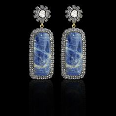 Sapphire Slice Earrings - JYOTI #color #happy #collection #blue #sapphire #slice #earring #designer #JYOTI #couture #jewelry