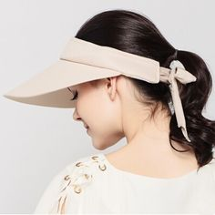 Summer wide brim sun visor hat for women with bow UV package sun hats