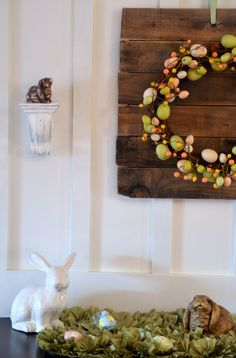 Like the backdrop for this wreath as well as the wreath.    http://www.homestoriesatoz.com/2012/03/bunny-egg-easter-mantel.html