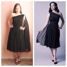 50s One Shoulder Dress / Sash Dress / Little by closetcaseVNTG
