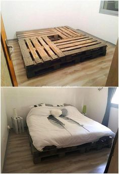 A unique pallet bed frame idea is all visible here for you that is creatively be., A unique pallet bed frame idea is all visible here for you that is creatively be. A unique pallet bed frame idea is all visible here for you that is. Pallet Bed Frames, Diy Pallet Bed, Diy Pallet Furniture, Diy Pallet Projects, Furniture Ideas, Wood Pallet Beds, Furniture Stores, Cheap Furniture, Pallet Couch