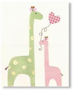 Vivero de jirafa  I Love mami impresión vivero por GalerieAnais