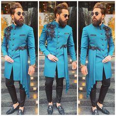 Designer royal blue zardosi work drapped indowestern sherwani for men wedding wear,. Sherwani For Men Wedding, Wedding Dresses Men Indian, Wedding Dress Men, Wedding Men, Wedding Blog, Mens Indian Wear, Mens Ethnic Wear, Indian Groom Wear, African Dresses Men