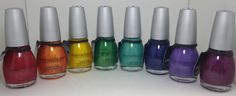 Sinful Colors Crystal Crushes - Ruby Mine, Orange Crush, Face The Facets, Emerald Envy, Treasure Chest, Blue Persuasion, Purple Gleam, Got A Blush On You (I can't capture the polish colors accurately today, please Google swatches.)