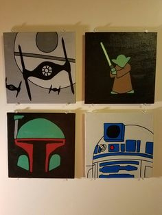 Hand painted Star Wars canvas set with the death star, Yoda, Boba Fett & R2D2 :) #starwars #nerd #handpainted #r2d2 #bobafett #deathstar #yoda