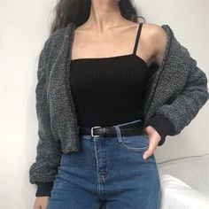 Small stand collar lamb hair flying jacket 50 Best Spring Outfits Casual 2019 for Women - Fashion and Lifestyle Grunge Outfits, Mode Outfits, Fashion Outfits, Womens Fashion, Fashion Trends, Fashion Clothes, Hipster Clothing, Fashion Tips, Teen Clothing