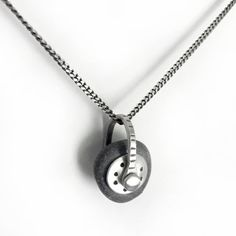 Sterling Silver Riveted Dark Grey Lake Erie Beach Stone by SToNZ