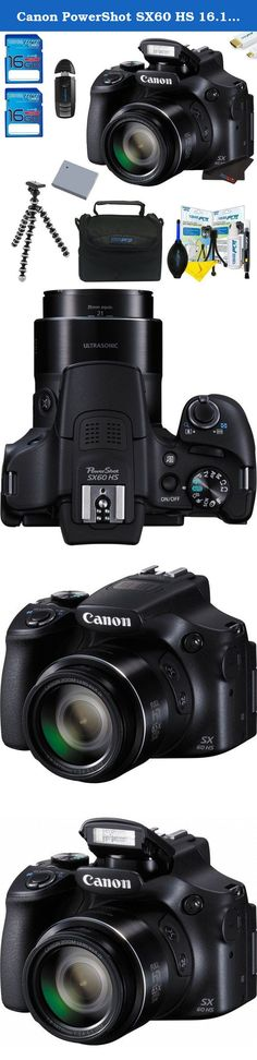 Canon PowerShot SX60 HS 16.1MP Digital Camera + Pixi-Basic Accessory Bundle w/ Tripod and Camera Case. Featuring a far-reaching 65x optical zoom lens, equivalent to 21-1,365mm in the 35mm format, the PowerShot SX60 HS Digital Camera from Canon will provide users with a compact, yet extremely versatile unit for capturing highly detailed images. Additionally, this camera is capable of Full HD 1080p video recording at 60 fps and has an external microphone input for higher quality audio. The...
