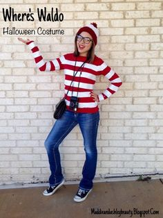 Where's Waldo Halloween Costume Tutorial- easy, inexpensive, DIY, & MODEST Cheap Halloween Costumes, Halloween 2017, Tween Costumes, Funny Diy Costumes, Modest Costumes, Teacher Costumes, Diy Halloween Costumes For Kids, Group Halloween, Easy Costumes