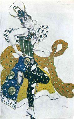 """Bosquejo para el ballet """"La Peri ', de Paul Dukas, 1911 - León Bakst"""