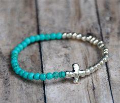 Dainty Turquoise and Silver Cross Bracelet van BeadRustic op Etsy