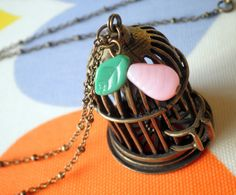 Fly Away with Me  Antiqued Bronze Birdcage Charm by ihcharms