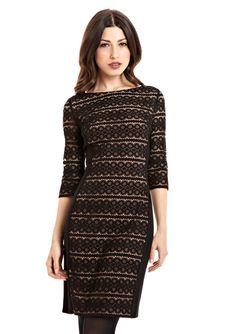 ANNE KLEIN DRESS Ribbon Stripe Lace Dress
