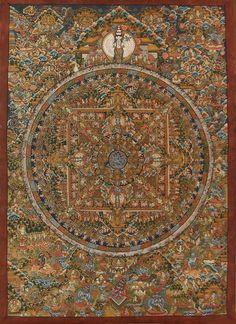 Extremely detailed and intricateTibetan Buddhist Mandala Thangka. Buddha Buddhism, Buddha Art, Tibetan Buddhism, Thangka Painting, Mandala Painting, Mandala Art, Tibetan Mandala, Tibetan Art, Vajrayana Buddhism