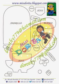 ARTESANATO COM QUIANE - Paps,Moldes,E.V.A,Feltro,Costuras,Fofuchas 3D: Molde Minions para capa de caderno feito de eva