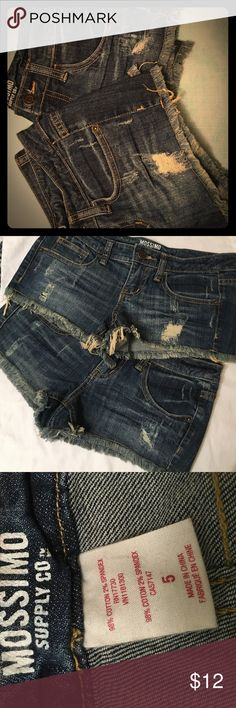 Frayed Daisy Dukes - Dark Wash - Juniors Size 5 Mossimo Supply Co. Dark Denim Shorts - Juniors Size 5 - 2.5inch inseam - Frayed bottoms, distressed fabric. Have 2 pairs I'm selling - same style/color but slight differences in fraying and distressing so both are shown. Will sell both together for $16, otherwise $12 each - both never worn! Mossimo Supply Co. Shorts Jean Shorts