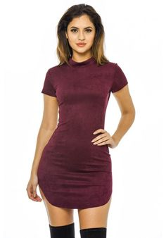 Plum Faux  Suede  Mini Dress with  High Neck
