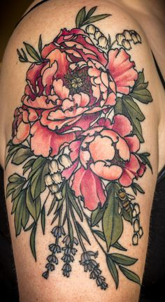 Peonies, lily of the valley, lavender, and a bee! Thanks to the talented Alice Carrier at Wonderland Tattoo in Portland, Oregon!