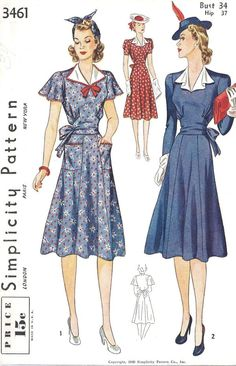 Simplicity 3461; ©1940; Misses' and Women's Dress. Neck may be finished with a detachable rever trimmed with rick-rack. Six-piece skirt is attached to blouse at natural waistline. Sash is joined to underarm edges of front and tied at back. Rick-rack trims pockets and short sleeves in Style I. Style II has soft draped revers and long sleeves, perforated for short.