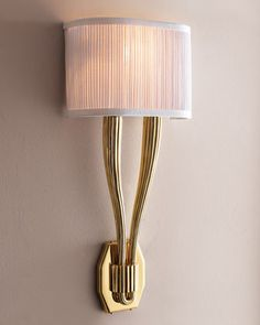 """Sophisticated, elegant and oh, so chic, this polished brass sconce will illuminate as it adds beauty to your home. Sconce includes an off-white pleated linen shade. Uses 10.25""""W x 4.5""""D x 22.25""""T. Product Specifications Sold By Horchow Category Wall Lights Style Traditional http://www.houzz.co.uk/photos/117529/polished-brass-sconce-traditional-wall-lights"""