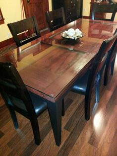 Two toned dinning room table made from an old door we found in our farm house. Perfect! Door table!