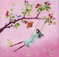 Postkarte 14x14cm ~ Mila Marquis ~ Schaukel an einem Kirschbaum