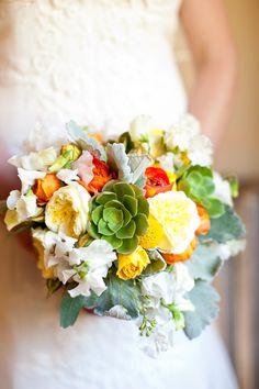 pretty color combo - love the succulents!
