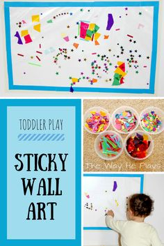 Explore sticky and non-sticky, develop fine motor skills and expand language while playing with this Sticky Wall Art.