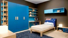 Similar to terrific bedrooms impressive boys bedroom design ideas with wooden cupboard and shelves with blue colour accent also wood bed frames
