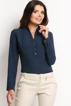Looking for Long Sleeve Tops? Call off the search with our Navy Blue Long Sleeve V Neck Shirt. Shop unique fashion at SilkFred Blue Blouse Outfit, Navy Blue Blouse, Blouse Models, Clothing Websites, Office Fashion, Running Women, Unique Fashion, Shirt Style, Long Sleeve Tops
