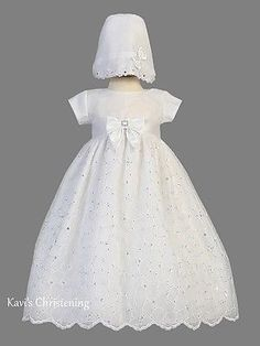 ae9ab453c90 Christening 139762  Girls White Christening Gown Baptism Dress Gown Organza  Sequins Sz 0-18M
