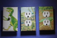 3 pc Dinasaur Light Switch Plate Cover kids room by ComicRecycled